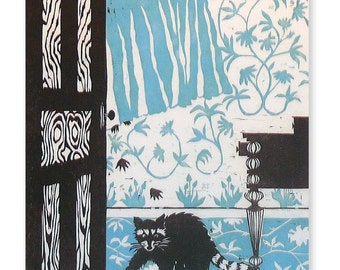 The Danger is Already Inside, Cute and Destructive, with Wily Paws... (woodblock print--blue, brown)