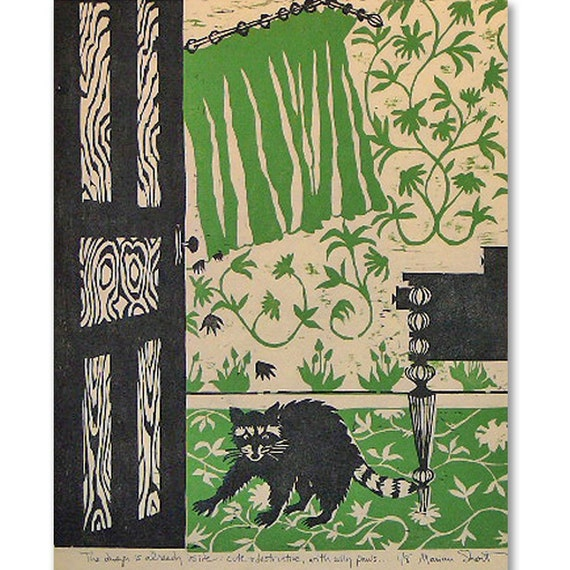 The Danger is Already Inside, Cute and Destructive, with wily paws...(woodblock print-green, black)