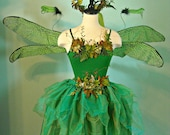 WOODLAND FAERIE adult size medium - with Dragonfly Wings - Moss Faerie Crown - skirt and top