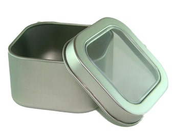 Square Aluminum Tin Container with Window, Set of 3