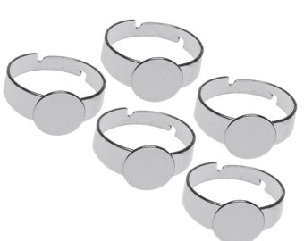Silver Wide Band Adjustable Rings, 15 Pack
