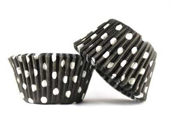 Black and White Cupcake Liners (75) MINI Size