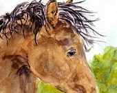 Sleepy horse artwork - print of my original watercolor painting - 5 x 7 - tapestry316
