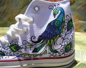 Wedding Shoes - Hand Painted Converse - Peacock design