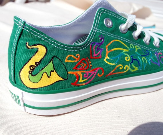 Hand Painted Shoes - Saxophone design