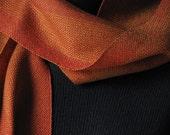 Handwoven Scarf - Copper, red, orange & toffee / Beaded / Eco-friendly Tencel / MirandasLoom