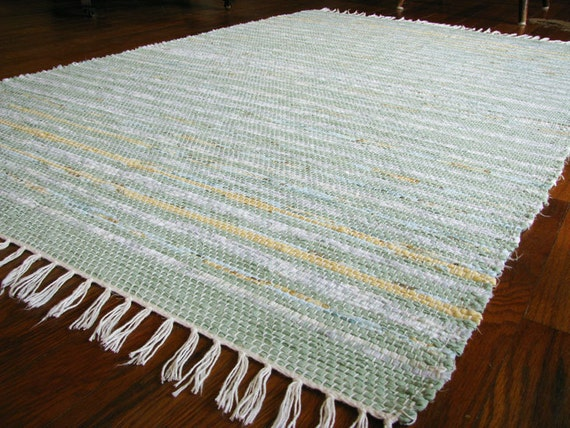 Rag Rug, Sage Green Yellow Handwoven Eco-Friendly Upcycled / MirandasLoom