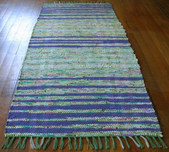 Rag Rug Runner Lime Green Purple Handwoven By MirandasLoom