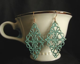 Verdigris Lacelike Filigree Earrings
