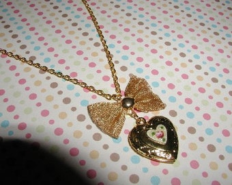 Sweet Heart Gold Plated Picture Locket Necklace Valentines Day