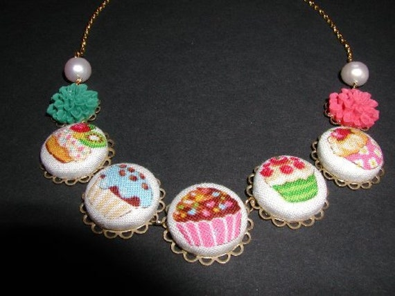 Fun Cupcake Button Necklace