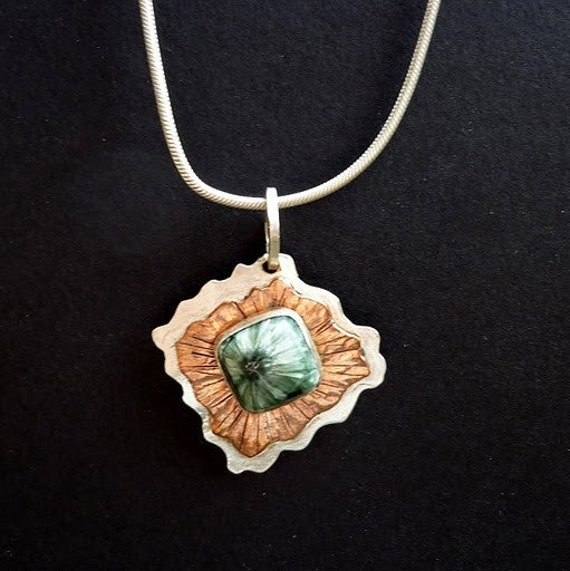 Seraphinite Copper And Sterling Silver Pendant