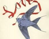Bird art - The Blue Bird of Love  - 4 X 6 print