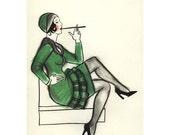 Art Deco print - art print   Jazz Baby  - 5.8 X 8.3 print - 4 for 3 SALE