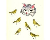 """Cat drawing (art print) - 4 for 3 SALE The Cat and the Canaries - 4"""" X 6"""""""