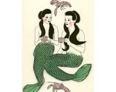 Mermaid Art - Mermaid Print  Crustacean cafe  -   4 X 6 mermaids print - 4 for 3 Sale