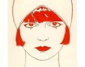 Art Deco Art print. Pandora in Rouge -  8.3 X 11.7 - 4 for 3 SALE