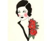 Art Deco fashion drawing  Joan - 4 X 6 art print - 4 for 3 SALE
