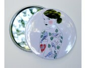Pocket Mirror - Hand Mirror Fashion illustration pocket mirror Tattooed lady art - The Girl Who Loved Birds