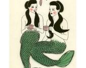 Mermaid art print gift SALE set  - 5 X different mermaid prints - 4 X 6 Prints