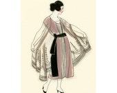 Art Deco fashion drawing  Rose - 4 X 6  print - 4 for 3 SALE