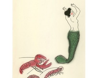 "Mermaid print art print - 4 for 3 SALE Jemima leads the Crustacean Calisthenics class - 4"" X 6"" print"