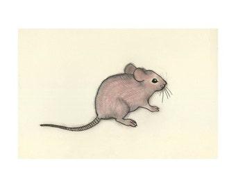 Mouse art - Little Mousey - 4 X 6 print