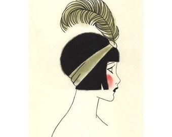 Poppy at the Ball: Art Deco Art print,  Fashion illustration, fashion print, art print, art deco - 4 for 3 SALE