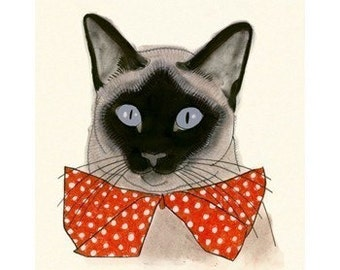 "Siamese Cat Art - Siamese Cat Wall Art - Red Bow Tie - 8.3"" X 11.8"" print - 4 for 3 SALE"