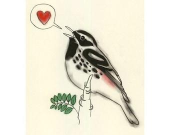 Bird Art - Valentine's day Love Song -  4 X 6 print - 4 for 3 SALE