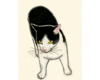 "Cat illustration art (print) - Out and About - 4"" X 6"" - 4 for 3 SALE"