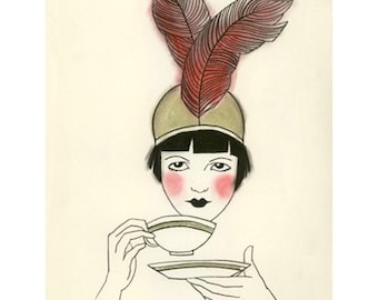 Art Deco print  1920s Art Deco art print   High Tea - 4 for 3 SALE