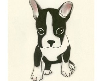 "Boston Terrier Art - Boston Terrier wall Art - Good things come in small packages - 8.3"" X 11.7"" dog art print - 4 for 3 SALE"