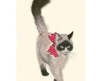 "Seal point persian cat art.  The Masked Bandit - 8.3"" X 11.7"" 4 for 3 SALE"