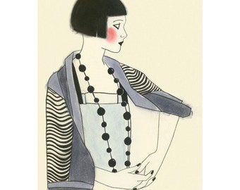 Art Deco fashion drawing 4 for 3 SALE Jools - 4 X 6  print