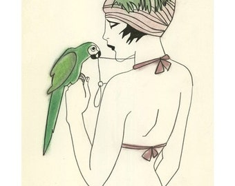 "Fashion illustration ACEO/ ACT Artist's Trading Card print - 4 for 3 SALE Nefertiti and the green parrot - 2.5"" x 3.5"""