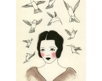 Fashion drawing. 4 for 3 SALE The Patron Saint of Humming-birds  - 4 X 6 print