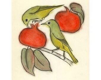 Bird wall art - 4 for 3 SALE Persimmon breakfast -  4 X 6 print