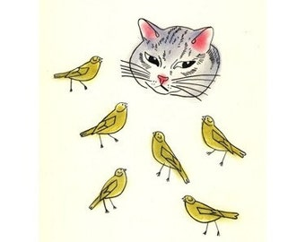 "Cat drawing (art print) - 4 for 3 SALE The Cat and the Canaries - 4"" X 6"""