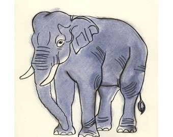 Elephant art print - Blue Boy  -  4 X 6 Print - 4 for 3 SALE