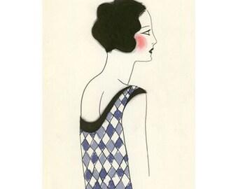 Art Deco fashion illustration  4 for 3 SALE Chloe -  4 X 6 print
