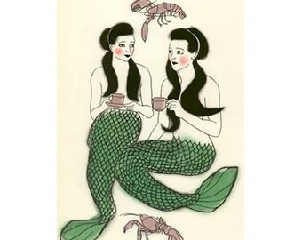 Mermaid Art - Mermaid Print  Crustacean cafe  -   4 X 6 mermaids print - 4 for 3 Sale