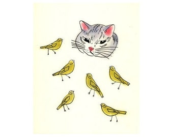 Cat Art - The Cat and the Canaries -  (5.8 X 8.3 art print)