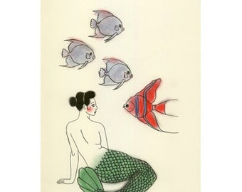 "Mermaid drawing art print -  Community Meet-up - 8.3"" X 11.8"" - 4 for 3 SALE"