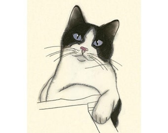Cat drawing Cat Art Earl   4 X 6 print of original drawing - 4 for 3 SALE