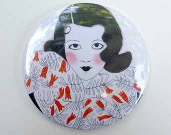 Art Deco Mirror - Pocket Mirror - Hand Mirror - Handbag Mirror - Lipstick Mirror Tenacity is my Secret