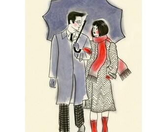 "Romantic couple art print. Rainy Day Walk  - 4"" X 6"" Print - 4 for 3 SALE"