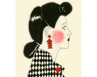 "Fashion illustration -  4 for 3 SALE - Postmodern Beauty - 4"" X 6"" print"