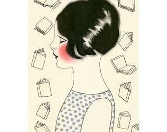"Nursery art. Library art. Book art.  4 for 3 SALE The Librarian  -  4"" X 6"" print"