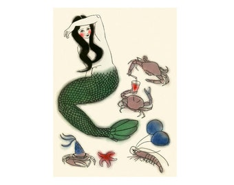 "Mermaid Art -   Party Central - 8.3"" X 11.8"" print - 4 for 3 SALE"